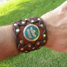 Buffalo Leather cuff  Bracelet Turquoise silver 925 signed Aztec style Mexican