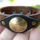 Handmade Jewish Bracelet wristband Buffalo Leather Real Israel coin 10 Agorot