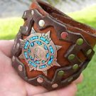 Buffalo Leather cuff  Bracelet Turquoise  silver 925 signed Aztec calendar style