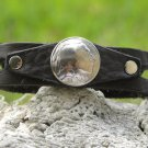 Handmade Cuff Bracelet Bison leather wristband Real Indian Head Nickel Coin
