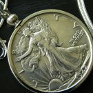 1942  Vintage  Walking Liberty Half dollar silver full face  Necklace pendant VF