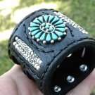 Native Ketoh  Authentic Bison Bracelet leather silver  turquoise signed B Yazzie