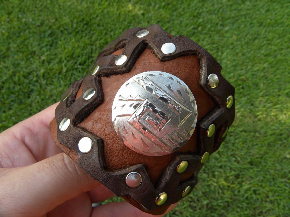 Buffalo Leather cuff  Bracelet wristband  silver 925 signed Aztec style Mexican