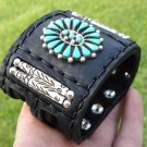Native Indian Ketoh  Bracelet  Buffalo leather silver  turquoise signed B Yazzie