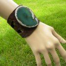Customize Cuff Bracelet Buffalo Leather Agate Geode Handmade Adjustable  brass