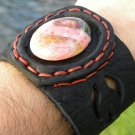 Natural  Agate Stone Bracelet Genuine Buffalo Leather signed  wristband