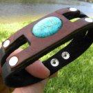 Genuine signed Leather Bracelet  Indian Style Handmade wristband Turquoise