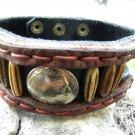 Customize signed   Bracelet  Buffalo Leather Buffalo Indian Nickel,  Bone