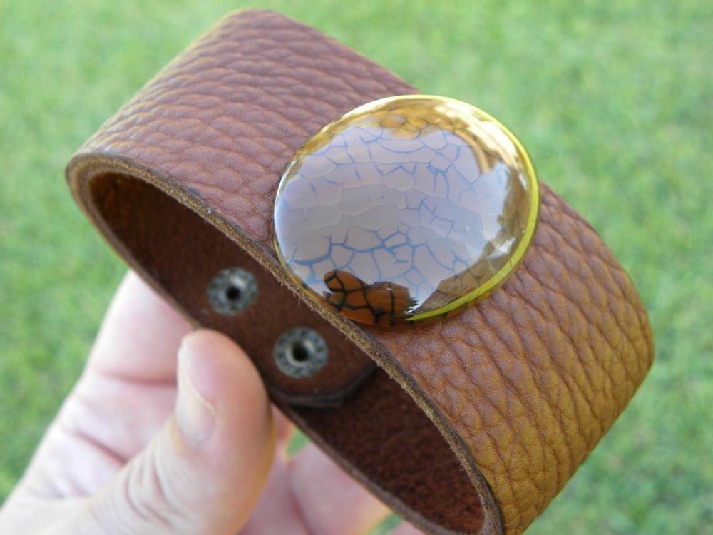 Natural Agate Stone Fine cuff Bracelet Handmade Genuine Buffalo Leather signed