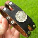 Handmade Cuff  Bracelets Genuine Buffalo Leather Buffalo Indian Nickel