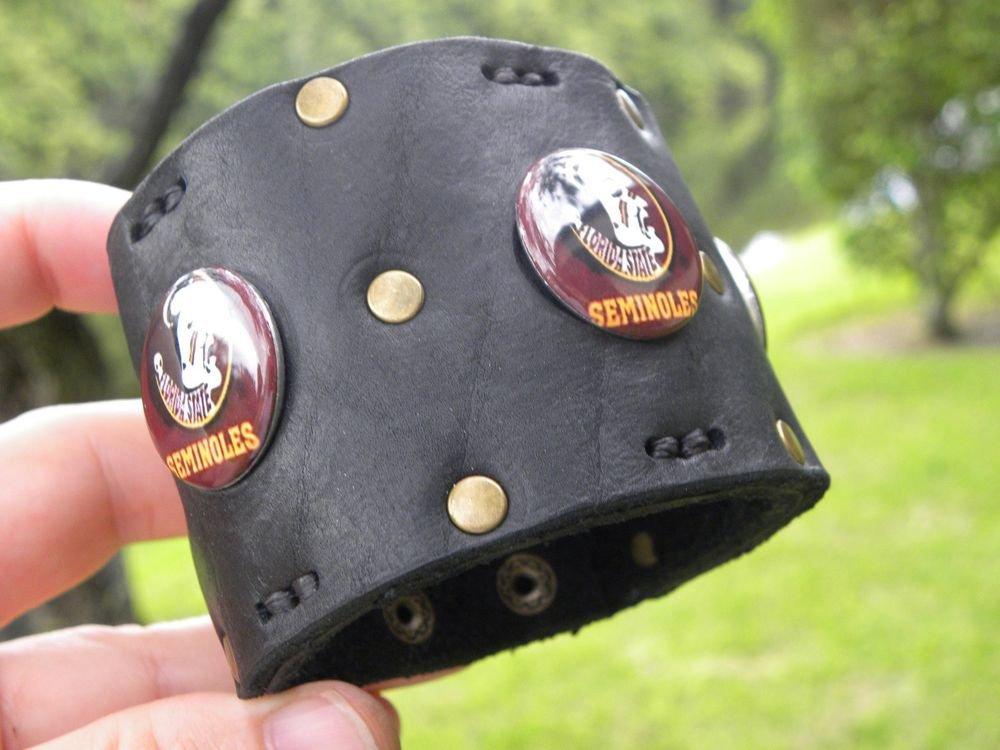 Handmade  Genuine Buffalo leather bracelet Seminole Indians Logo Florida State