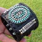 Authentic  Indian Bracelet  Buffalo leather silver  turquoise signed B Yazzie