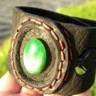 Natural  Agate Stone Handmade cuff  Bracelet Genuine Buffalo Leather wristband
