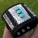 Leather Ketoh cuff Authentic  Bracelet  Silver Turquoise signed Native style