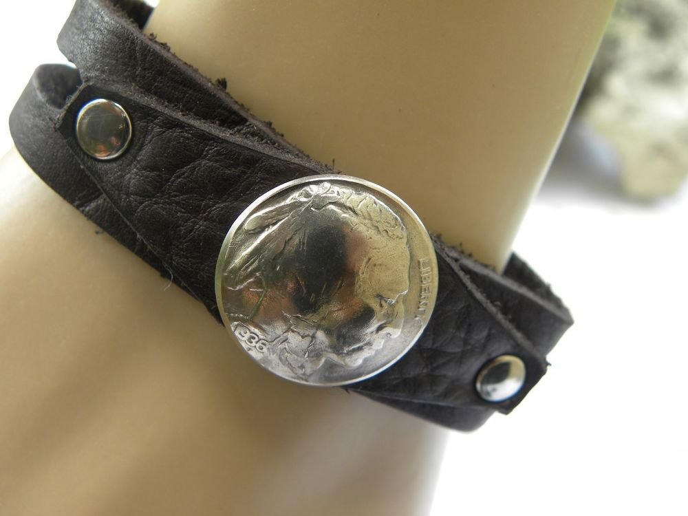 Handmade Cuff Bracelet  Genuine Bison leather wristband Buffalo Indian Nickel