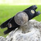 Buffalo Leather cuff handmade Bracelet  real Mercury dime coin Indian Style