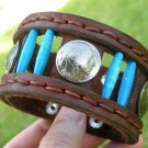 Handcrafted  Buffalo Leather cuff wristband Indian Head coinsTurquoise customize