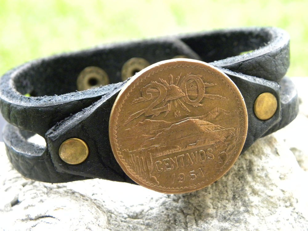 Aztec Pyramid Coin handmade cuff Bracelet Buffalo leather Mixed metals no stone
