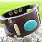 Handmade cuff Bracelet  Genuine Bison Leather cuff wristband Turquoise mg