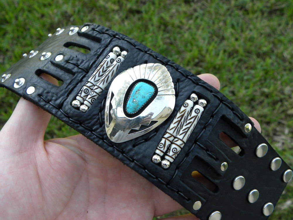 Authentic Leather handcrafted Bracelet Turquoise signed Navajo Indian John White