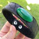 Agate Natural stone American Buffalo Leather handcraft  cuff Bracelet wristband