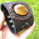 Dragon eye Agate Stone gemstone Bracelet Genuine Buffalo Leather wristband