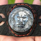 Natural  Carved Lion Hematite signed Bracelet Genuine Buffalo Leather customiz