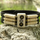 Handmade Indian Style Buffalo leather Cuff Bracelet wristband real coins