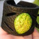Bracelet Buffalo Leather Natural Jasper stone Indian Style handmade adjustable