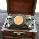 1718  PIRATE Coin Handmade cuff Bracelet Bison leather  mixed metals no stone mg