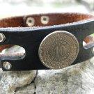 Handmade cuff Bracelet Bison Leather wristband Real Aztec Calendar Coin