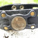 Handmade cuff Bracelet Jewish  Buffalo Leather wristband mixed metals no stone