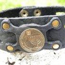 Handmade cuff Bracelet Jewish  Buffalo Leather wristband mixed metals no stone