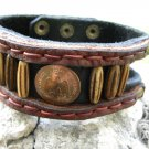 Handmade  Bracelet  Buffalo Leather Mexican coin Bone tied w sinew Indian Style