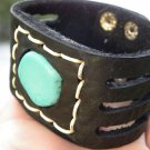 Handmade Indian Style Unique Cuff Bracelet Buffallo Bison leather Turquoise