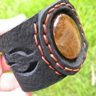 Natural Agate Dragon eye gemstone Bracelet Genuine Buffalo Leather wristband