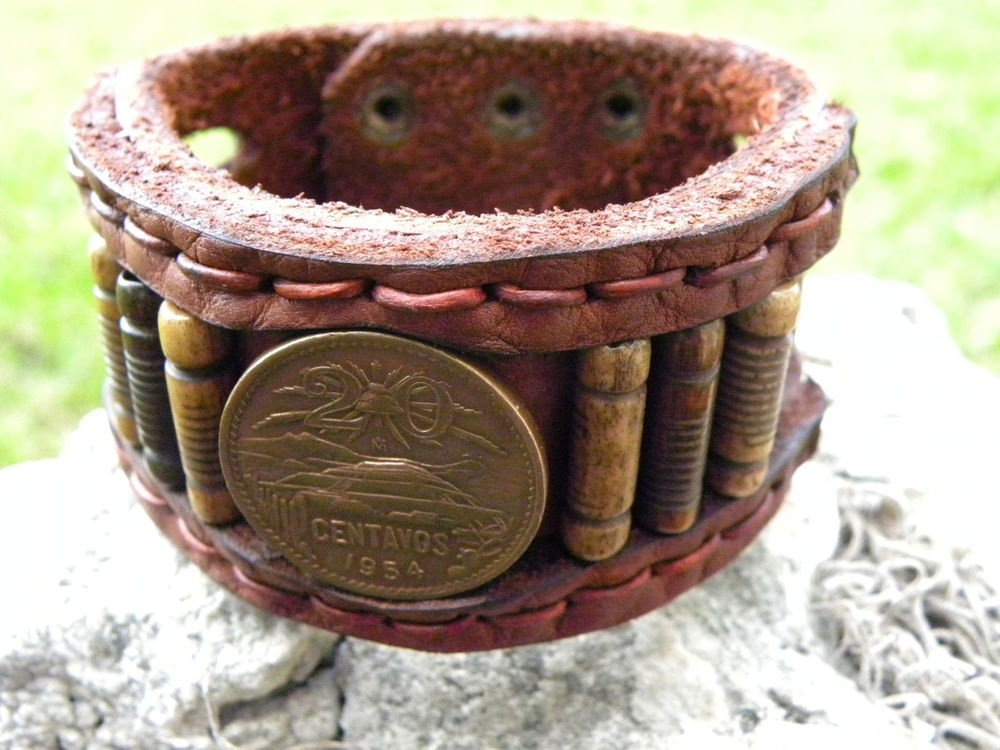 Customize USA Bracelet  Bison Leather Aztec Pyramid Bone Aztec Style cuff