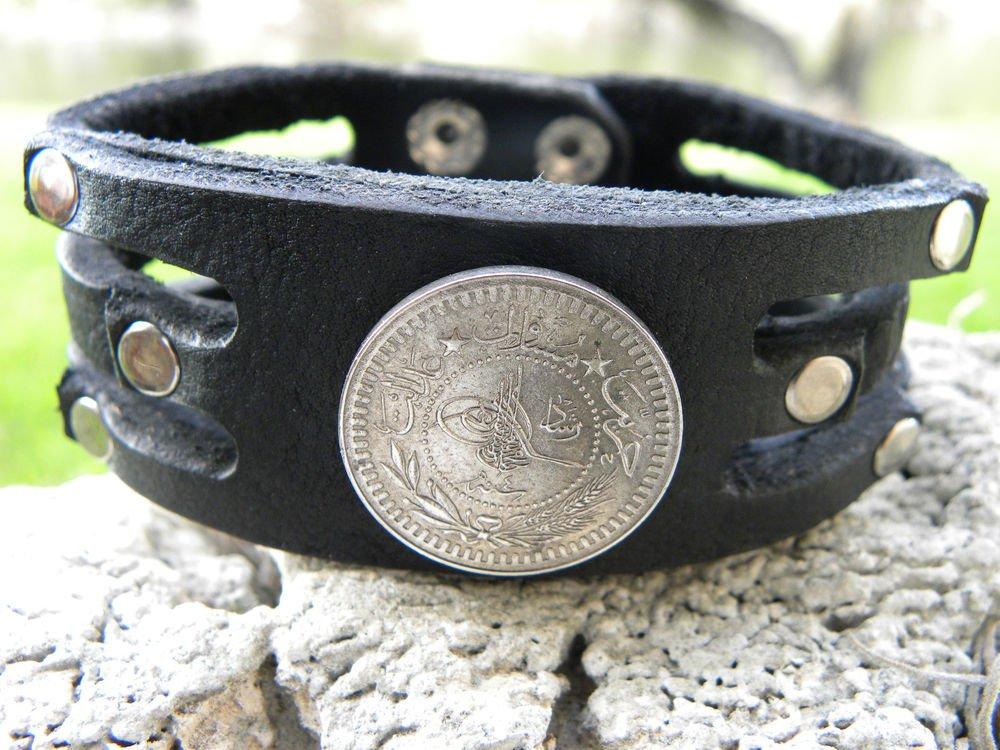 Handmade Bracelet  Buffalo Leather 1911 Turkey Ottoman Empire Toughra Coin