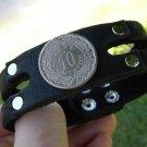 Handmade Cuff  Bracelets Genuine Buffalo Leather  Aztec calendar coin centavos