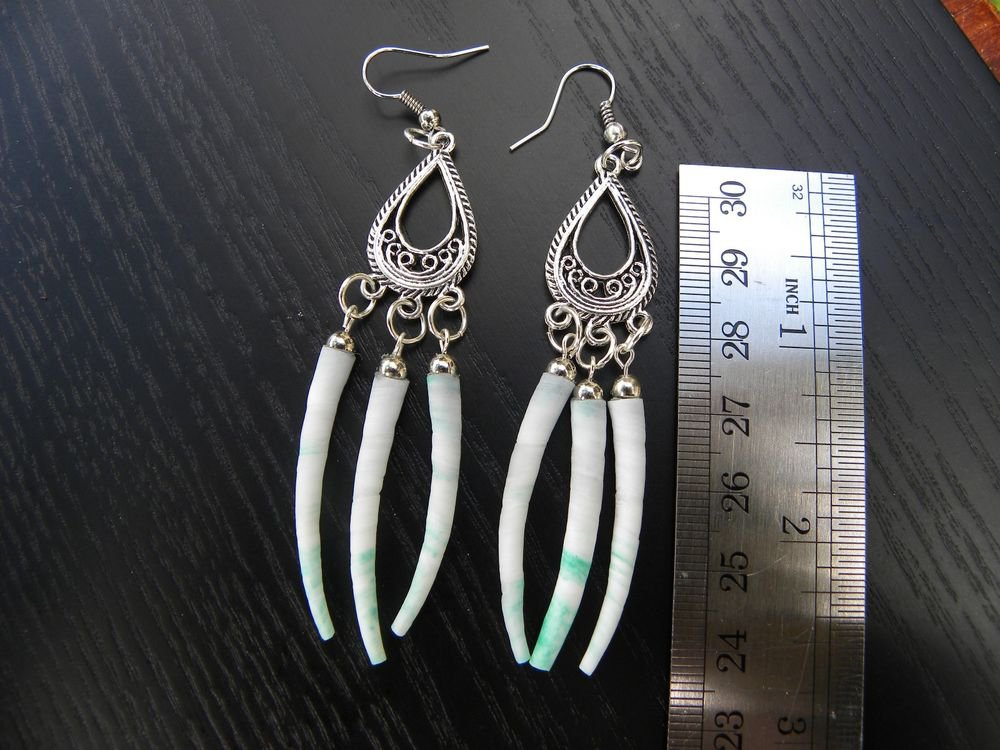 Earring handmade Indian style with dyed Dentalium shell Fine earrings