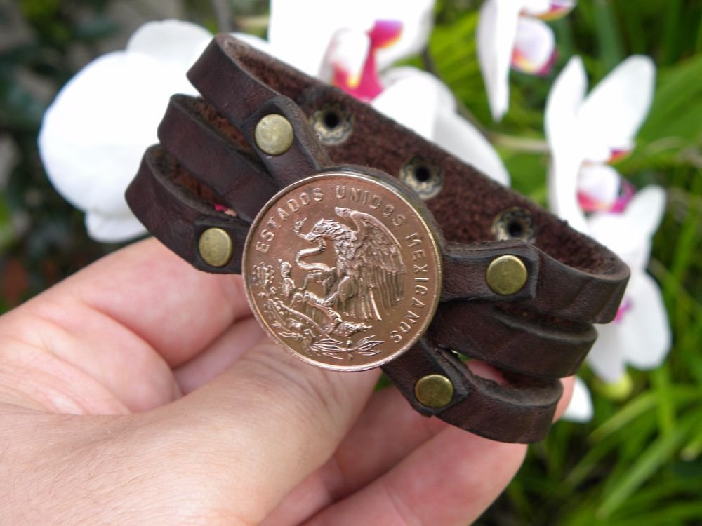 Signed Bracelet Buffalo Leather wristband 20 Centavos Aztec Eagle Mexican coin