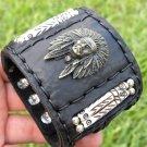 Signed Indian Chief Bracelet  Buffalo Leather bones customize Rockstar