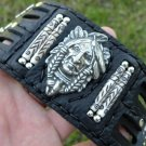 Native  Indian Chief Bracelet  Buffalo Leather bones customize adjustable Ketoh