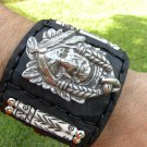 Native  Indian Chief Bracelet  Buffalo Leather bones Navajo styl ketoh customize