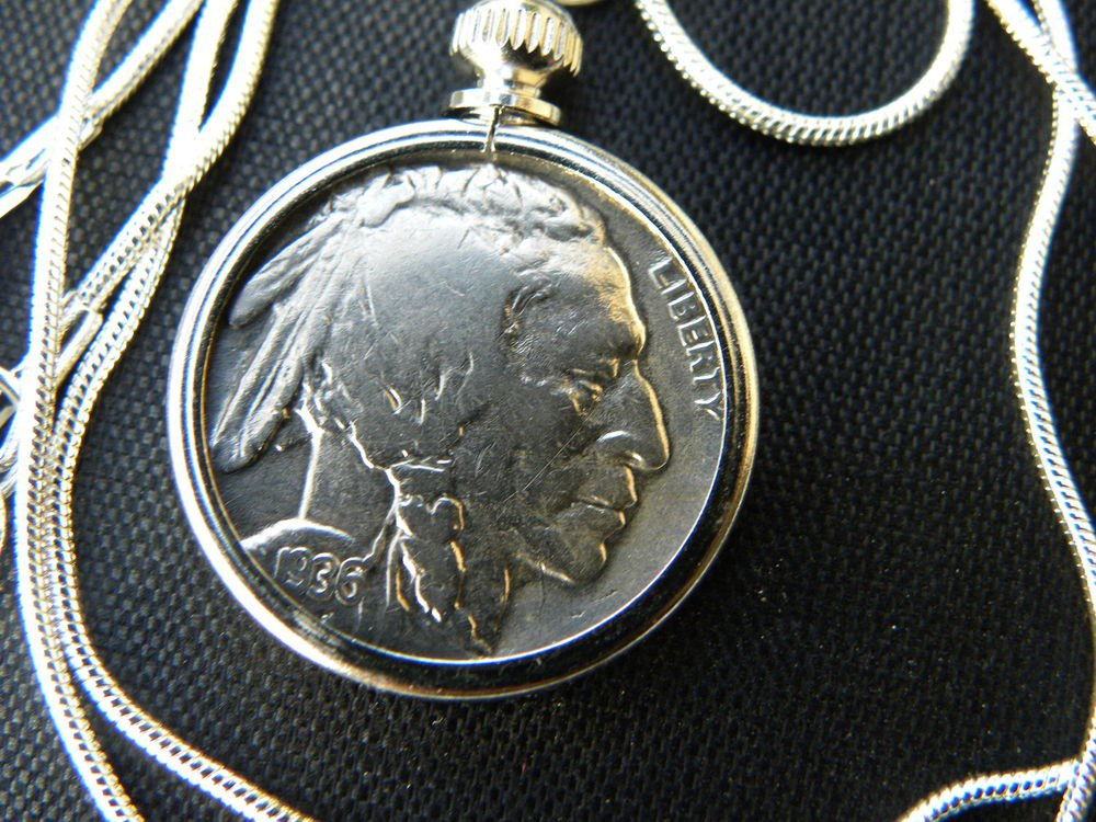 Vintage Handcrafted Artisan Necklace Vintage  Buffalo Indian Nickel coin cool