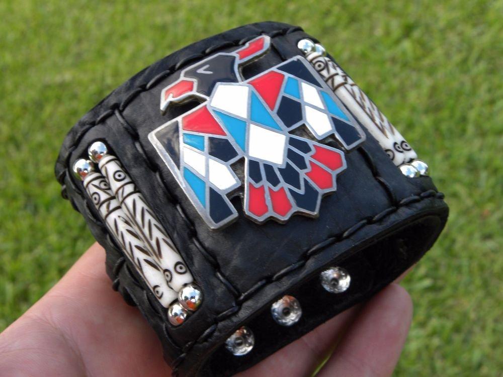 Authentic Bracelet Native American Navajo Handmade Thunderbird Bison leather