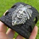 Handmade Genuine Buffalo Leather Indian chief Bracelet I cuff western  style
