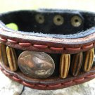 Navajo native Indian style cuff bracelet wristband Genuine Bison Leather Buffalo