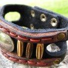 Handmade Bracelet  Buffalo Leather wristband Indian Nickel bone tied w sinew.