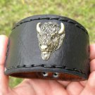 Cuff  handmade signed Bracelet  Genuine Buffalo Leather  Head Indian style Ketoh